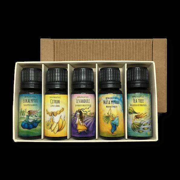 cestovni apotéka s esenciálními oleji citron, eukalyptus, máta peprná, levandule a tea tree
